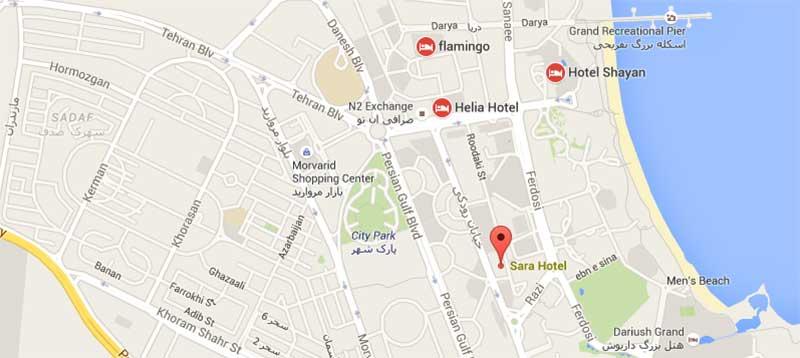نقشه گوگلی هتل سارا کیش